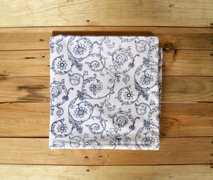 Blue & white table cloth, swirl print, victorian pattern, 1' hem border, 100% cotton table cloth