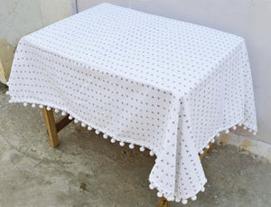 Aztec table cloth, triangle print, gray and white, 100% cotton, pompom lace, sizes available