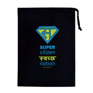 Super Swachh -Black with blue and yellow print