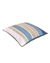 Teal Cadet Blue Stripe Polysilk Cushion Cover