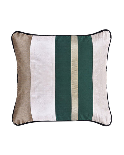 White Green Stripe Polysilk Cushion Cover