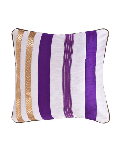 Violet White Stripe Polysilk Cushion Cover