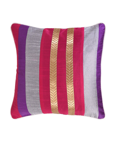 Violet Fuschia Pink Stripe Polysilk Cushion Cover