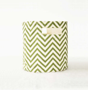 Green Canvas basket, chevron print, storage basket, fabric bin, sizes available