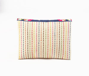 Tribal pouch, envelope clutch, off white  foldover clutch,  multicolour, embroidered, 6X9 inches