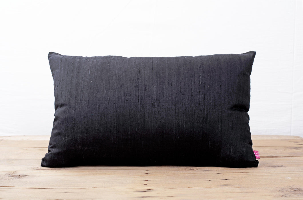 Silk pillow, black color, lumbar pillow cover, size 12'X20' , other sizes available