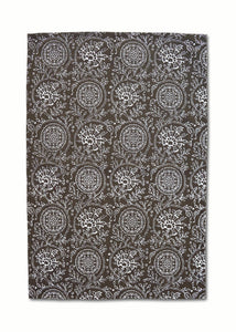 Dark brown Kitchen Towel, floral print, kalamkari, Indian ethnic printed Tea Towel, 100% cotton