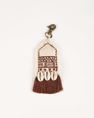 Tribal tassel, handmade, boho bag charm, gypsy charm, earth colours, size 5.5' or 14 cms