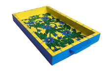 Miharu Lemon Yellow Color Floral Design Pattachitra Painting Tray