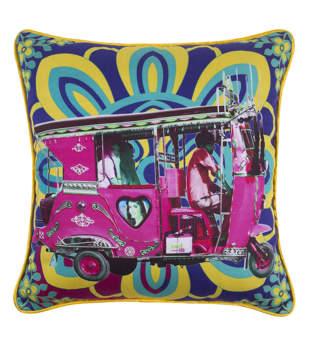 Pink Taxi Glaze Cotton Cushion Cover 16x16 Inches
