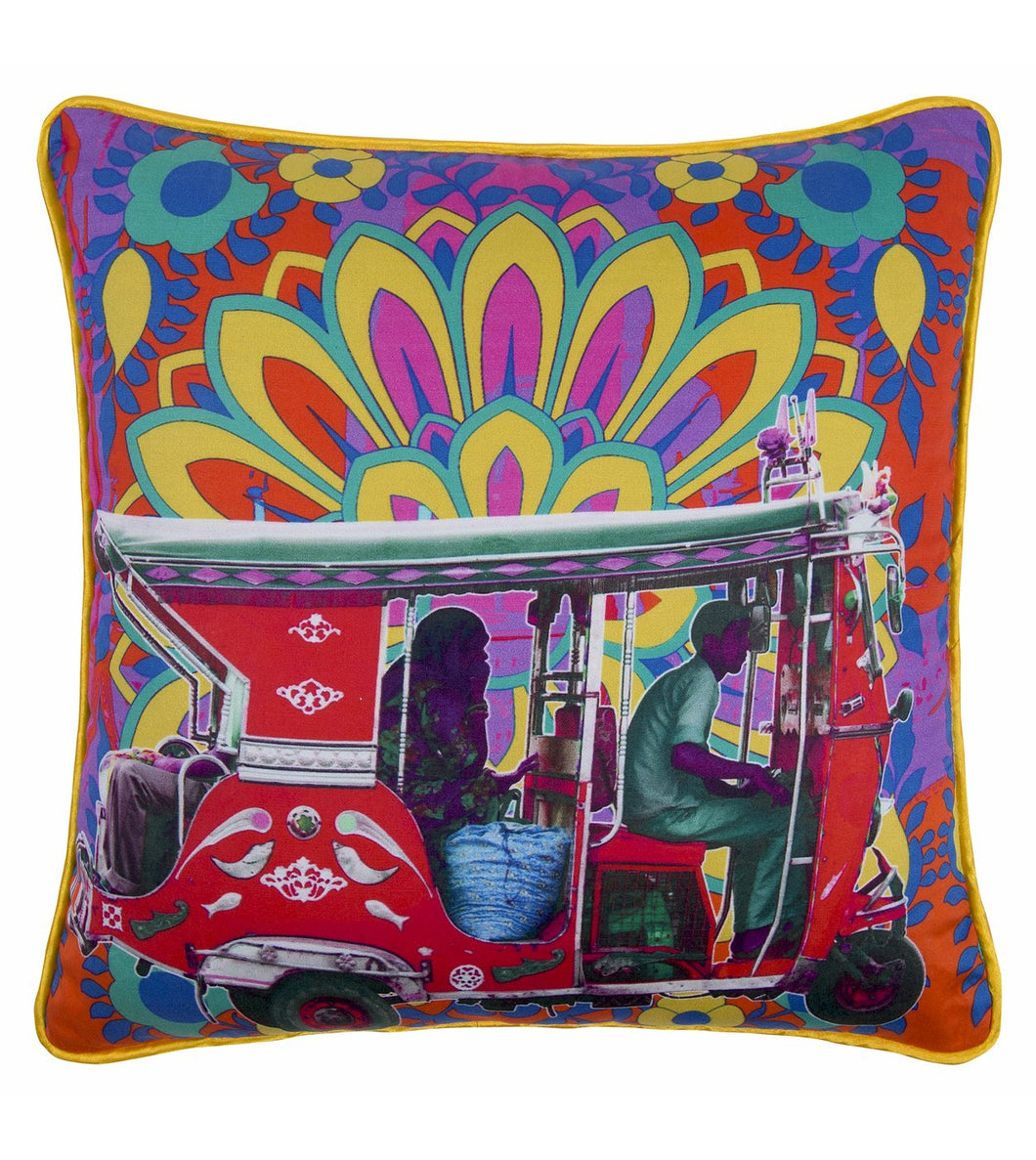 Scarlet Taxi Glaze Cotton Cushion Cover 16x16 Inches