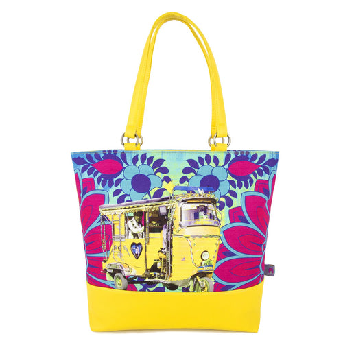 Neon Yellow Taxi Tote Bag