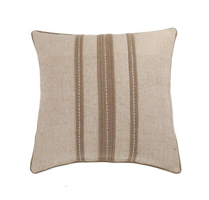 16'x16' Beige Jute cotton textured cushion cover with contrast pleats and stitch lines