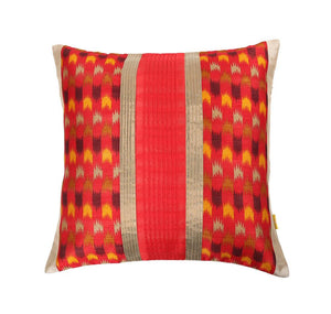 16'x16' Traditional Red Ikkat art decorative cushion cover with solid pintucks and gold piping