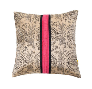 16'x16' Beige traditional worli printed decorative cushion cover with contrast pintucks at centre