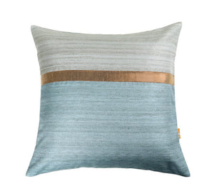 16'x16' Sky Blue and Blue self textured sofa, decorative cushion cover with gold piping
