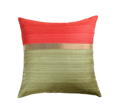 16'x16' Red and Green self textured sofa, decorative cushion cover
