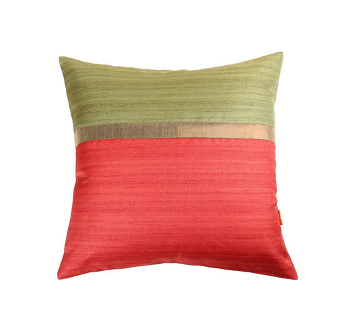 16'x16' Green and Red self textured sofa, decorative cushion cover with gold piping