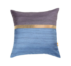 16'x16' Purple and Blue self textured, decorative cushion cover with gold piping