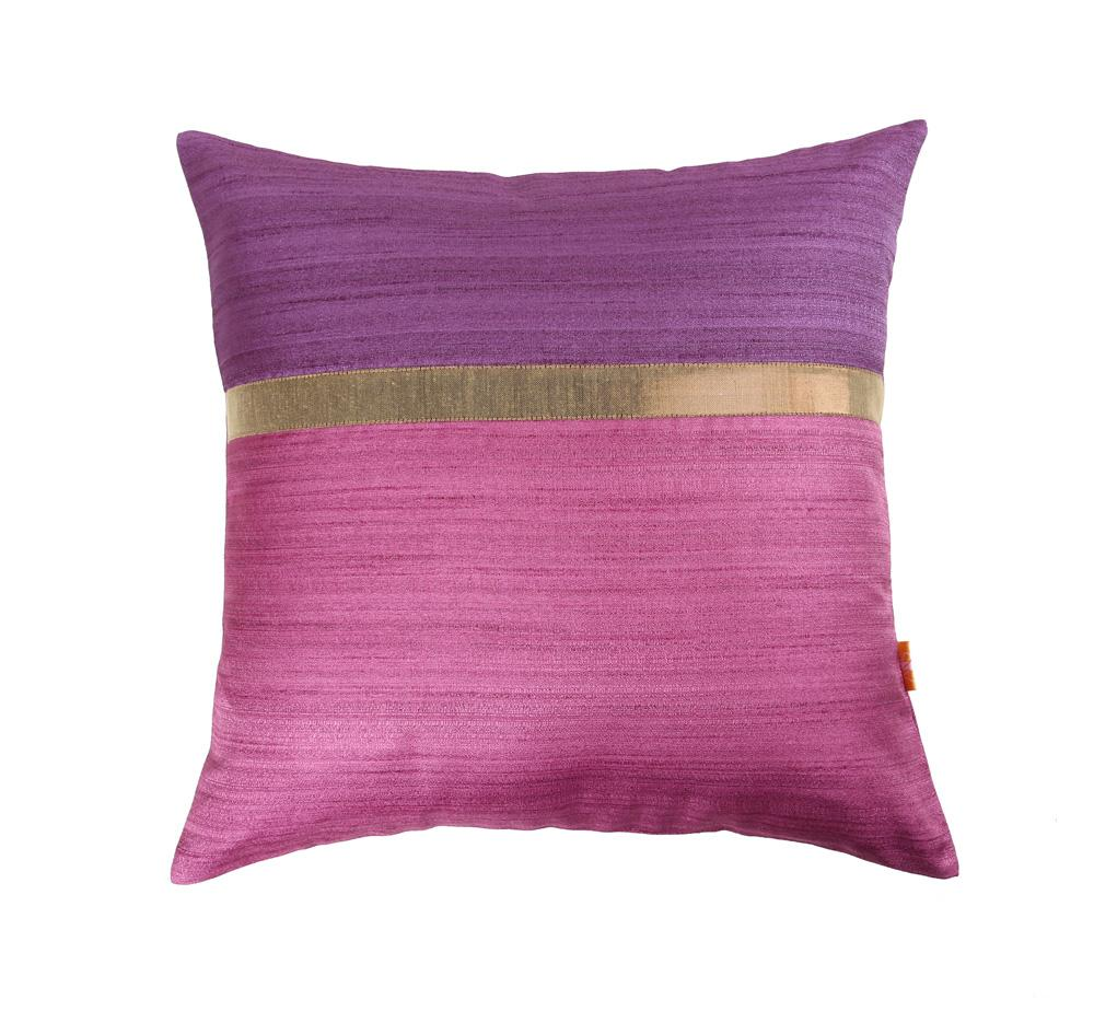 16'x16' Mauve and Pink self textured, decorative cushion cover with gold piping