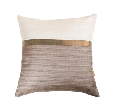16'x16' White and Brown self textured, decorative cushion cover with gold piping