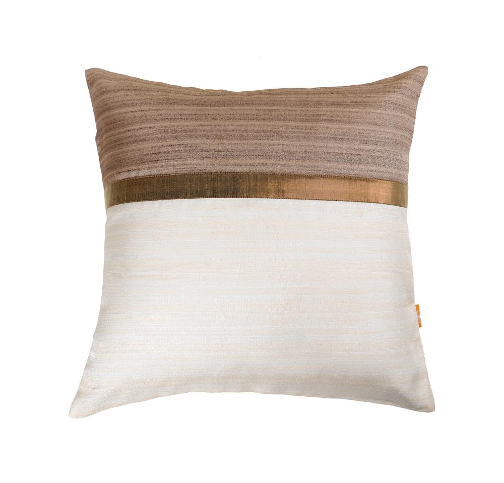 16'x16' Brown and White self textured, decorative cushion cover with gold piping