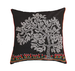16'x16' Black decorative multicolour thread embroidered traditional worli art cushion cover