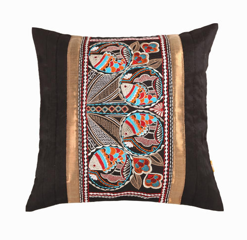 16'x16' Black decorative multicolour thread embroidered traditional Bengal fish motif cushion cover
