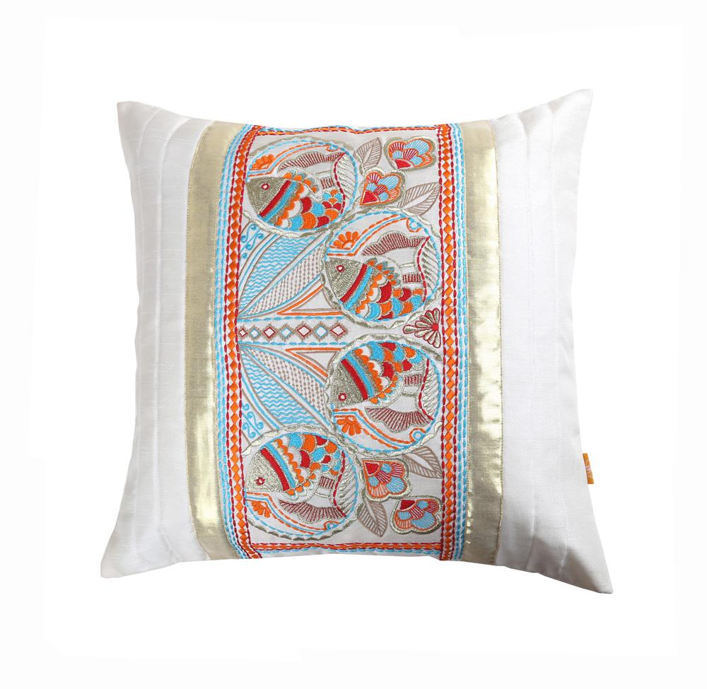 16'x16' White decorative multicolour thread embroidered traditional Bengal fish motif cushion cover