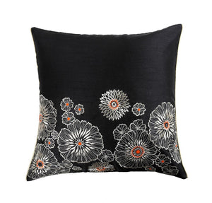 16'x16' Decorative Black cushion cover with golden zari embroidered ornamental floral motif