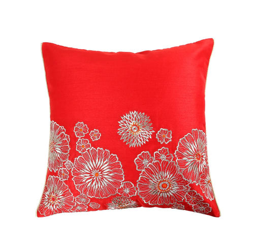 16'x16' Decorative Red cushion cover with golden zari embroidered ornamental floral motif