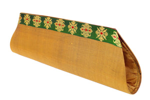 Miharu Beige Color Handloom Silk Clutch Bag with Baluchari Motif Weave