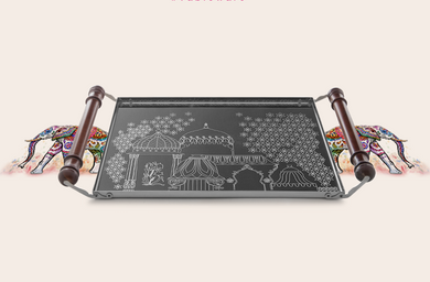 Arttdinox Pink City Collection Serving Tray Etching Small