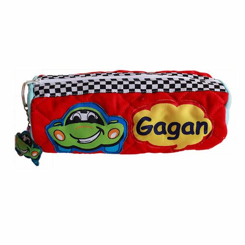 Crazy Car Cylindrical Pencil Pouch, Personalized