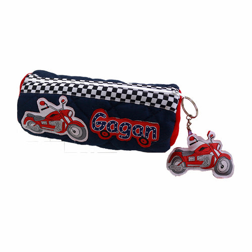 Harely Bike Cylindrical Pencil Pouch, Personalized