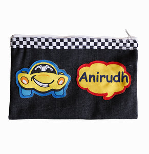 Crazy Car Denim Pencil Pouch, Personalized