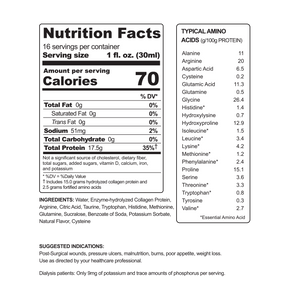 16oz Bottle - ProT Gold Liquid Protein - Nutritional Facts