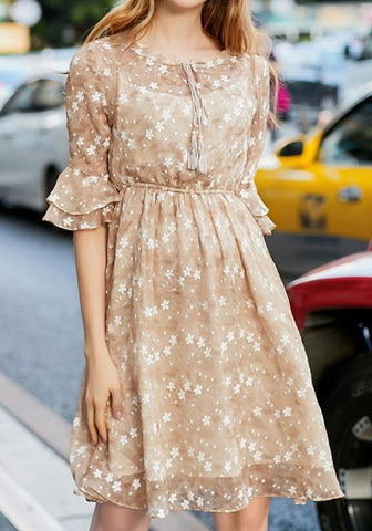 Apricot Flowers Print Draped Round Neck Fashion Midi Dress