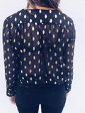 New Black Polka Dot Deep V-neck Going out Casual Blouse