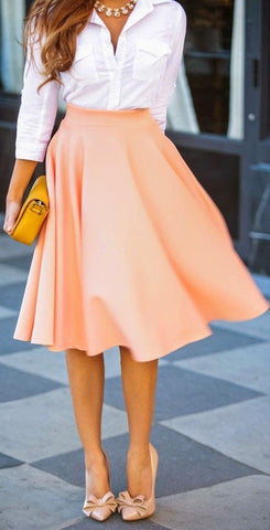 DaysCloth Pink Plain Draped High Waisted Pleated Retro Flared Full A Line Party Midi Skirt
