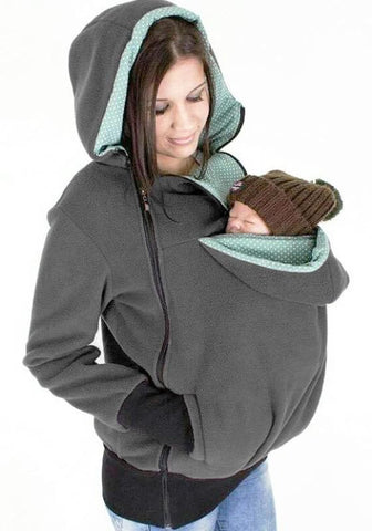 DaysCloth Grey Multi-functional Zipper Kangaroo Baby Bags Hooded Cardigan Sweatshirt
