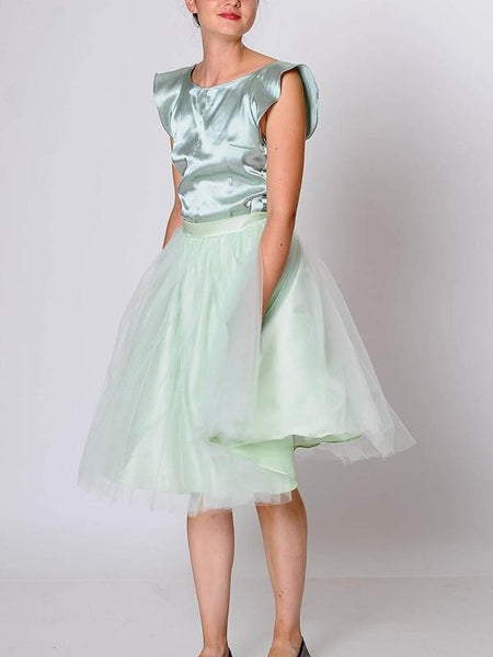 New Light Grey Draped Grenadine High Waisted Elegant Skirt