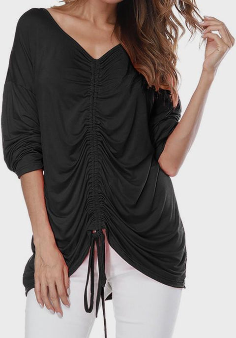 DaysCloth Black Drawstring Round Neck Long Sleeve Casual T-Shirt