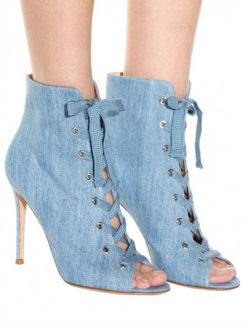 DaysCloth Blue Denim Peep Toe Lace Up Detail Heeled Sandals