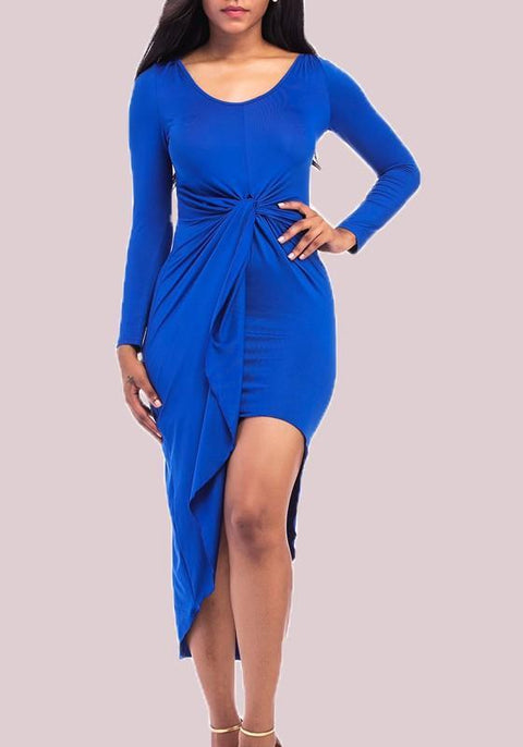 DaysCloth Royal Blue Irregular Bodycon Round Neck Long Sleeve Party Midi Dress
