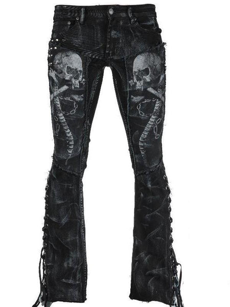 New Black Shantou Print Lace-up Pockets Bell Bottomed Flares Long Pant