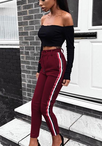 Red Striped Drawstring Pockets Casual Long Pants