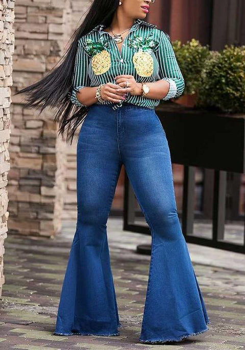 DaysCloth Dark Blue Pockets Buttons High Waisted Bell Bottom Casual Flare Long Jeans