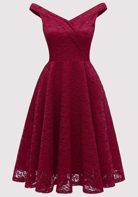 DaysCloth Burgundy Lace Draped Backless Deep V-neck Elegant Party Midi Dress