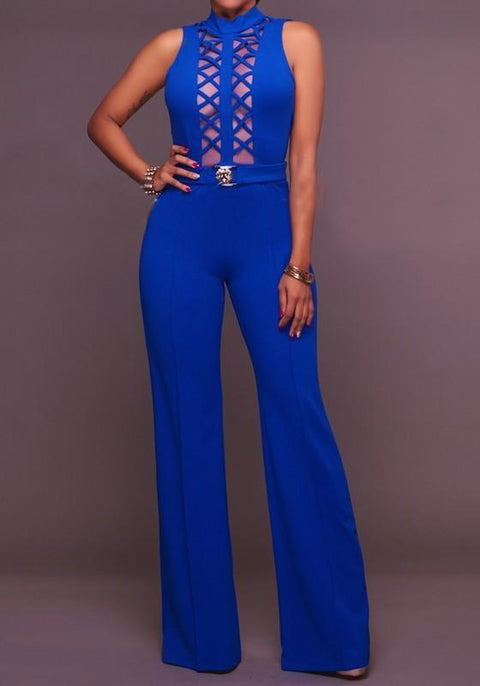 DaysCloth Sapphire Blue Patchwork Cut Out High Waisted Wide Leg Palazzo Long Jumpsuit